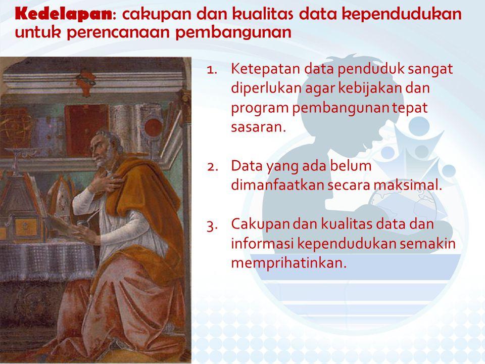 Kedelapan: cakupan dan kualitas data kependudukan untuk perencanaan pembangunan