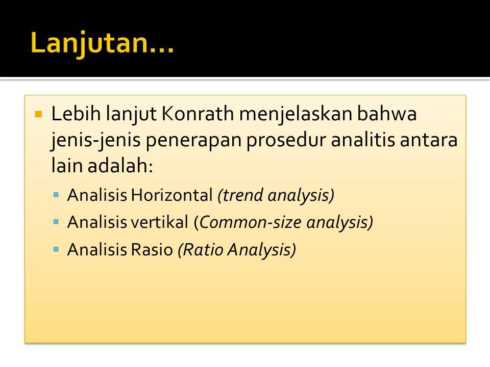 Lanjutan… Lebih lanjut Konrath menjelaskan bahwa jenis-jenis penerapan prosedur analitis antara lain adalah: