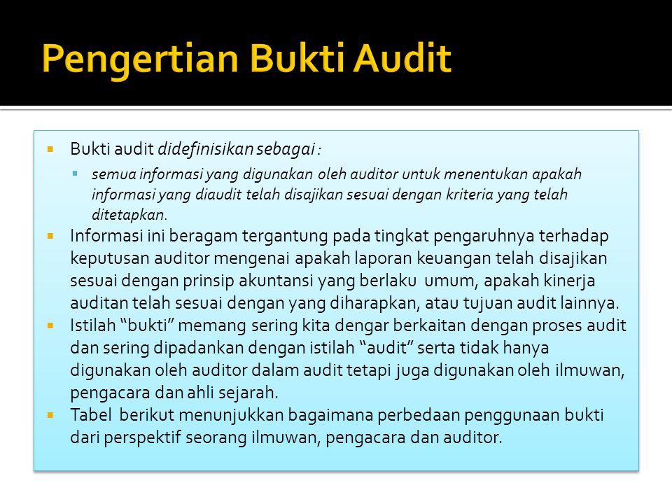 Pengertian Bukti Audit