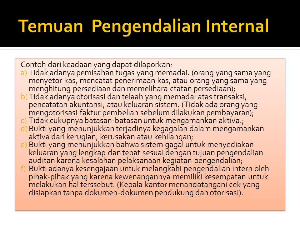 Temuan Pengendalian Internal
