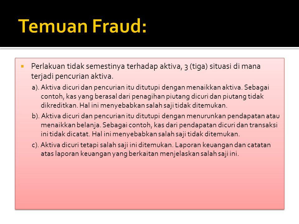 Temuan Fraud: Perlakuan tidak semestinya terhadap aktiva, 3 (tiga) situasi di mana terjadi pencurian aktiva.