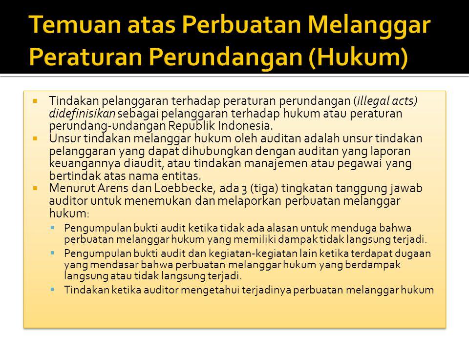 Temuan atas Perbuatan Melanggar Peraturan Perundangan (Hukum)