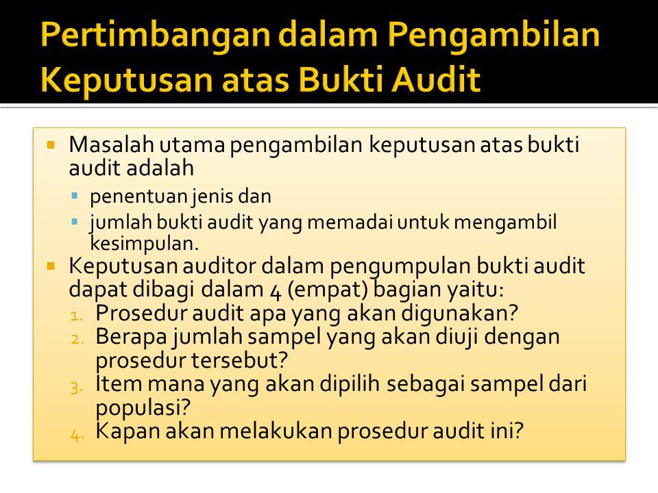 Pertimbangan dalam Pengambilan Keputusan atas Bukti Audit