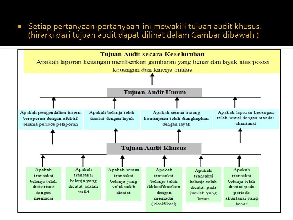 Setiap pertanyaan-pertanyaan ini mewakili tujuan audit khusus