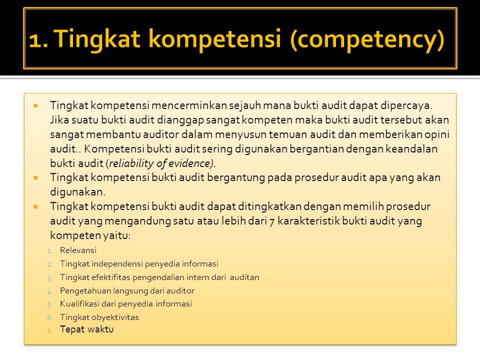 1. Tingkat kompetensi (competency)