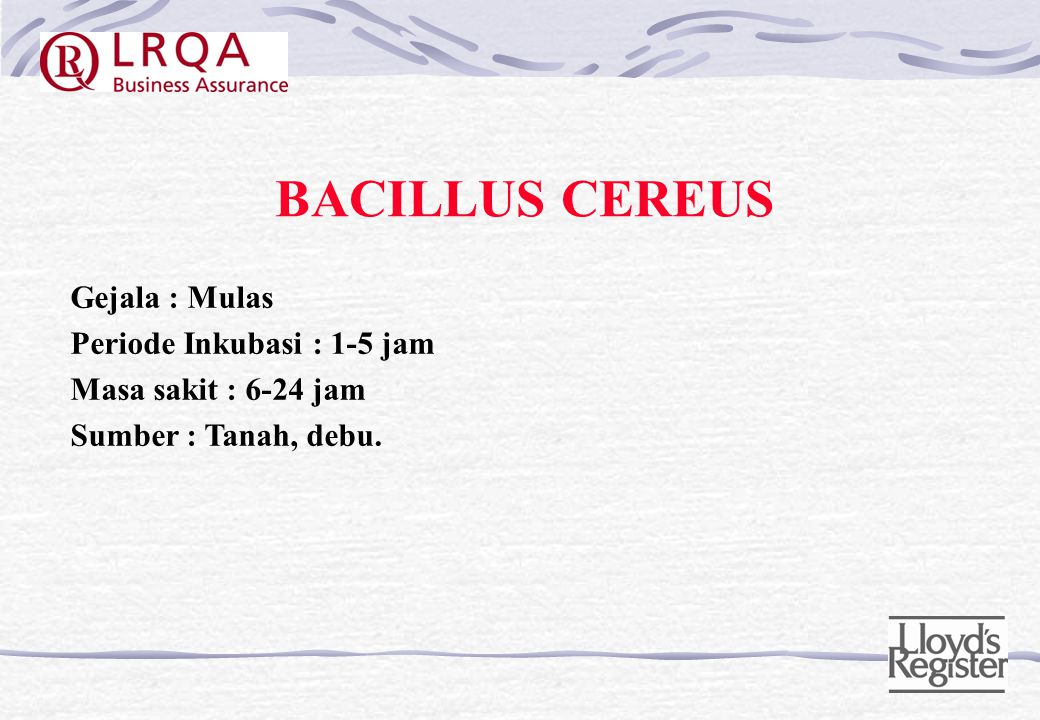 BACILLUS CEREUS Gejala : Mulas Periode Inkubasi : 1-5 jam