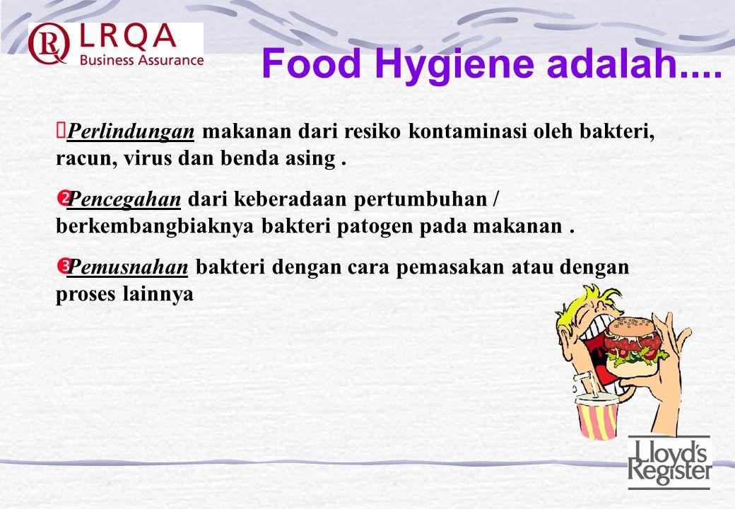 Food Hygiene adalah.... Perlindungan makanan dari resiko kontaminasi oleh bakteri, racun, virus dan benda asing .