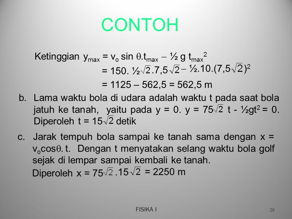 CONTOH Ketinggian ymax = vo sin .tmax  ½ g tmax2  ½.10.(7,5 )2 .7,5