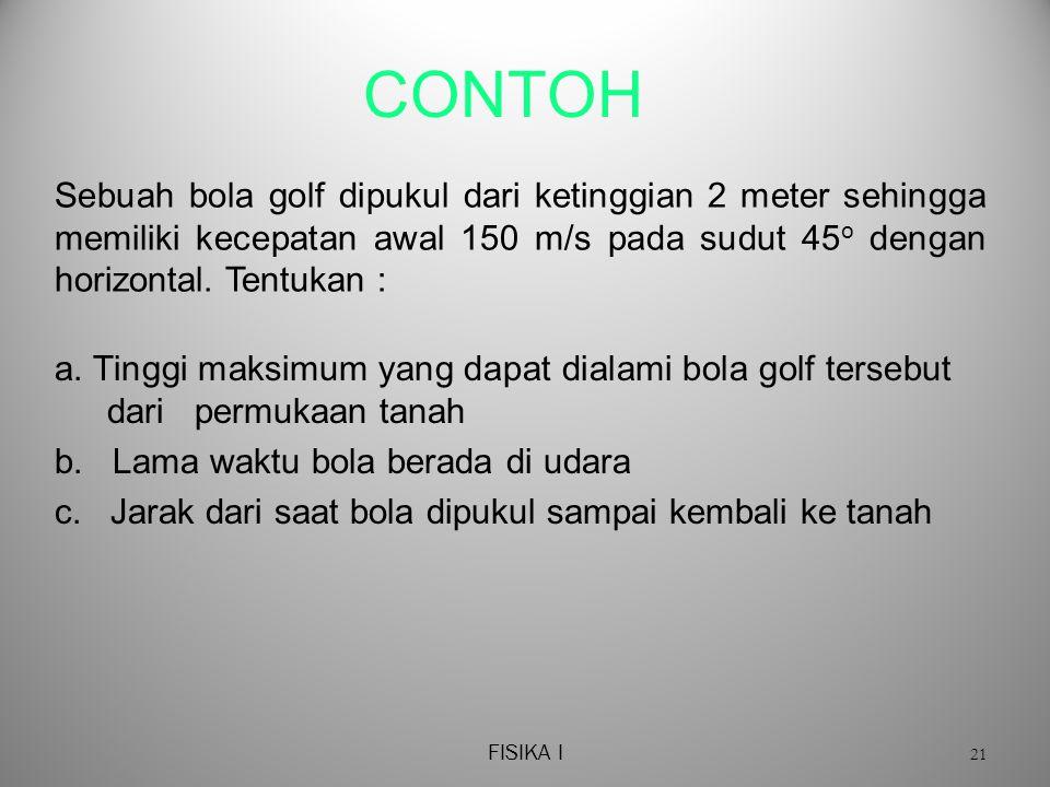 CONTOH Sebuah bola golf dipukul dari ketinggian 2 meter sehingga memiliki kecepatan awal 150 m/s pada sudut 45o dengan horizontal. Tentukan :