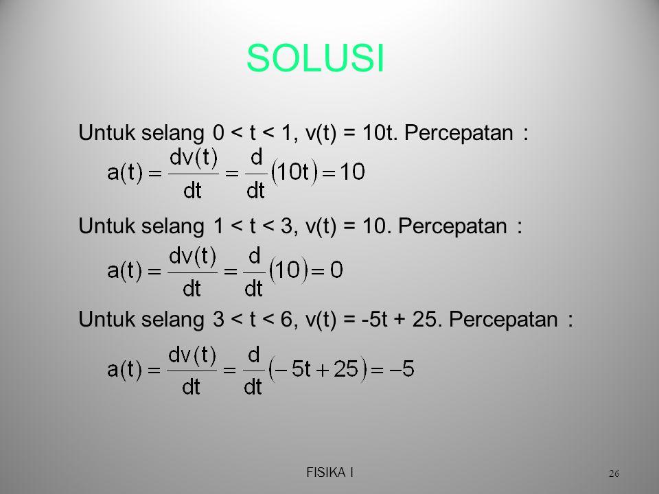 SOLUSI Untuk selang 0 < t < 1, v(t) = 10t. Percepatan :
