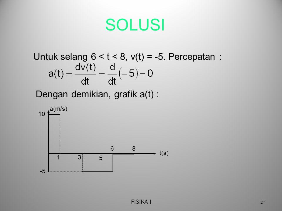SOLUSI Untuk selang 6 < t < 8, v(t) = -5. Percepatan :