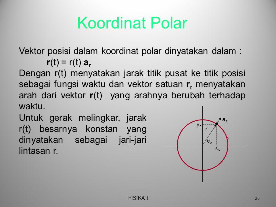 Koordinat Polar Vektor posisi dalam koordinat polar dinyatakan dalam :