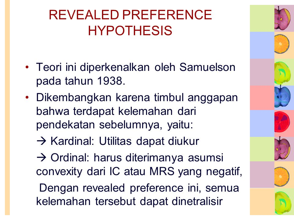 REVEALED PREFERENCE HYPOTHESIS