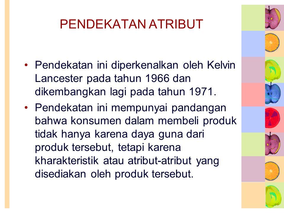 PENDEKATAN ATRIBUT Pendekatan ini diperkenalkan oleh Kelvin Lancester pada tahun 1966 dan dikembangkan lagi pada tahun 1971.