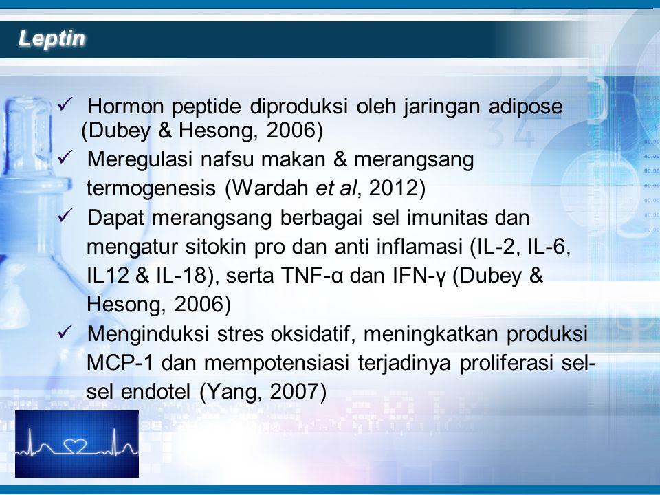 Leptin Hormon peptide diproduksi oleh jaringan adipose (Dubey & Hesong, 2006) Meregulasi nafsu makan & merangsang.