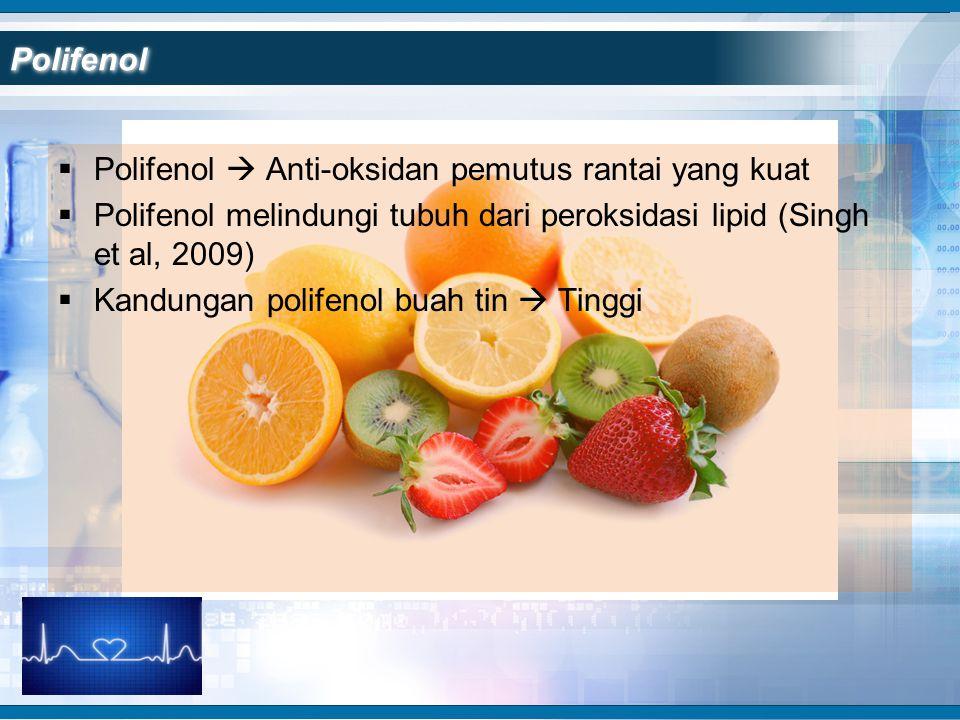 Polifenol Polifenol  Anti-oksidan pemutus rantai yang kuat. Polifenol melindungi tubuh dari peroksidasi lipid (Singh et al, 2009)