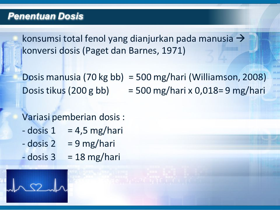 Dosis manusia (70 kg bb) = 500 mg/hari (Williamson, 2008)
