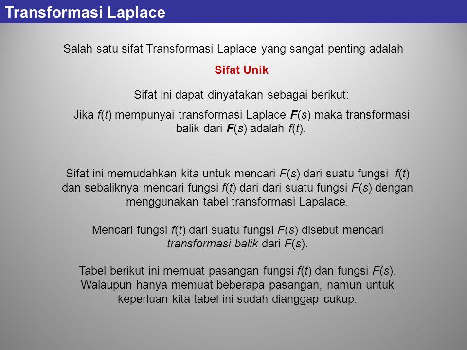 Transformasi Laplace Salah satu sifat Transformasi Laplace yang sangat penting adalah. Sifat Unik.