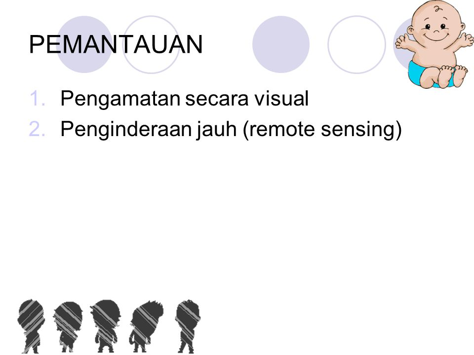PEMANTAUAN Pengamatan secara visual Penginderaan jauh (remote sensing)