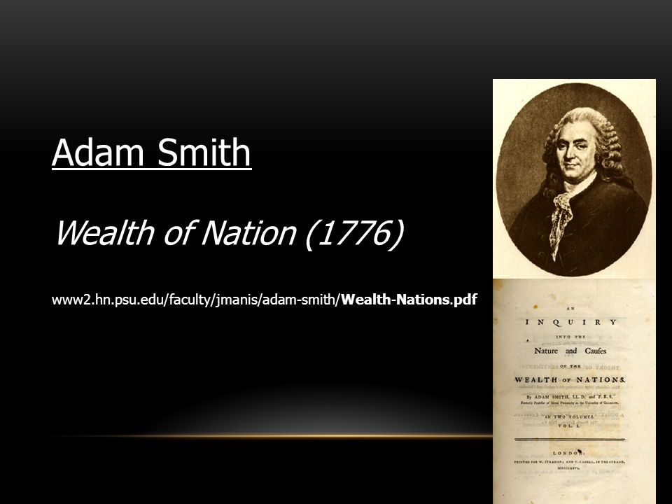 Adam Smith Wealth of Nation (1776)