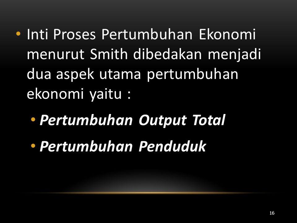 Inti Proses Pertumbuhan Ekonomi menurut Smith dibedakan menjadi dua aspek utama pertumbuhan ekonomi yaitu :
