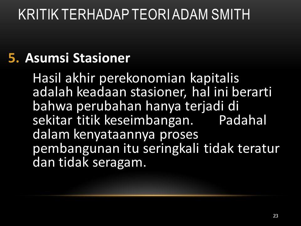 Kritik Terhadap Teori Adam Smith