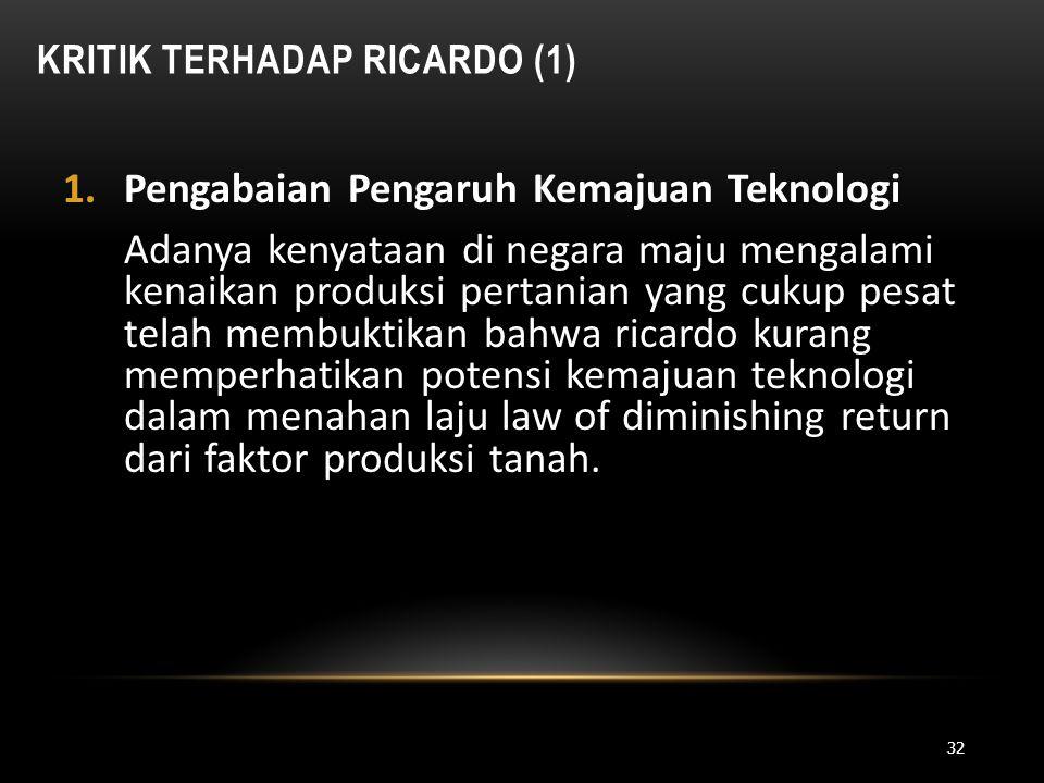 Kritik Terhadap Ricardo (1)