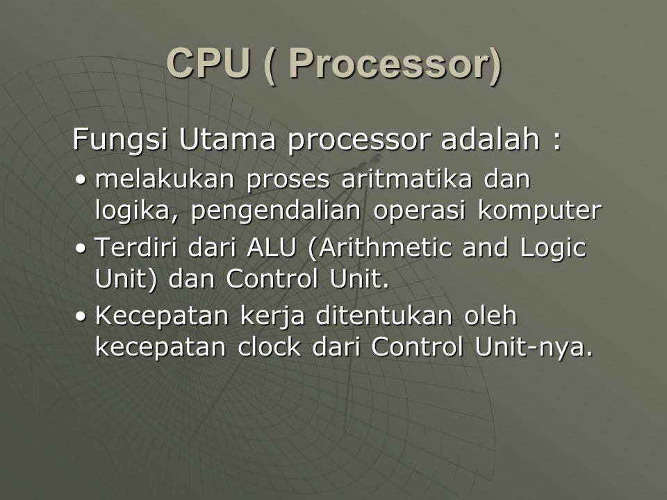 CPU ( Processor) Fungsi Utama processor adalah :