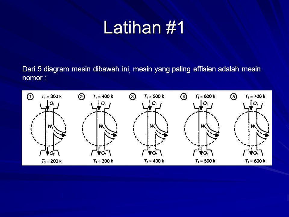 Latihan #1 Dari 5 diagram mesin dibawah ini, mesin yang paling effisien adalah mesin nomor :