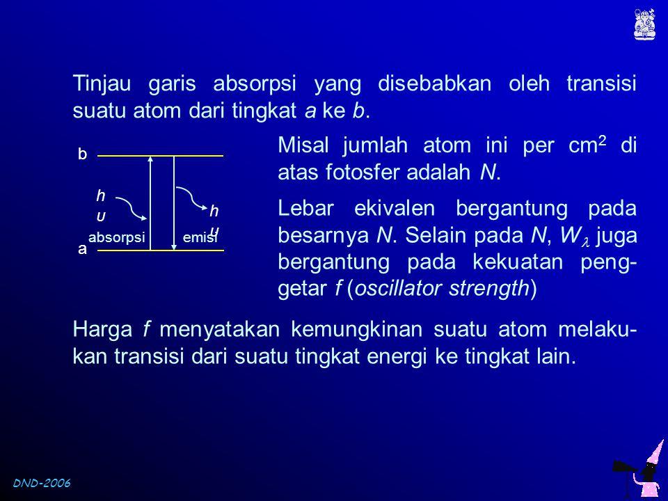 Misal jumlah atom ini per cm2 di atas fotosfer adalah N.
