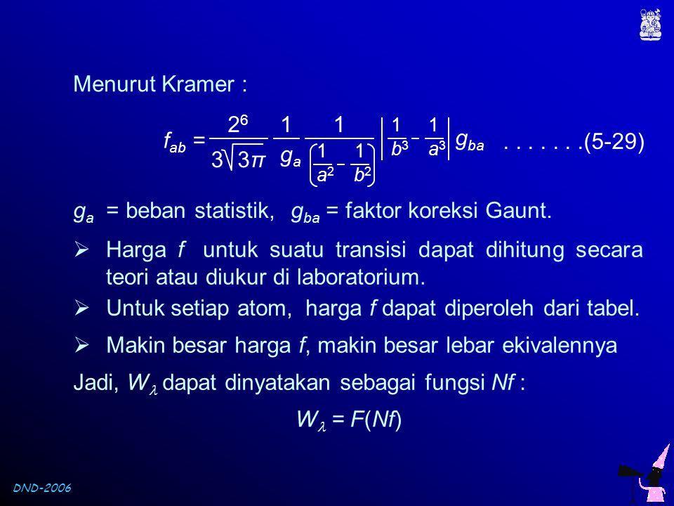 gba = faktor koreksi Gaunt.