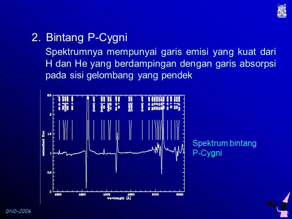 Bintang P-Cygni Spektrumnya mempunyai garis emisi yang kuat dari H dan He yang berdampingan dengan garis absorpsi pada sisi gelombang yang pendek.