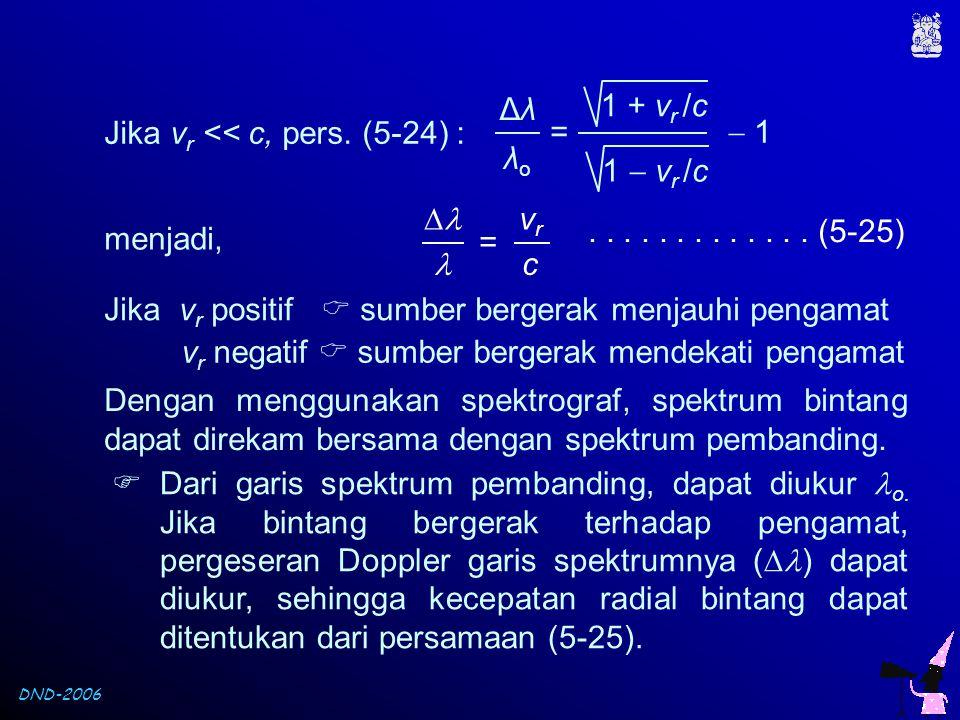 Δλ λo. =  1. 1 + vr /c. 1  vr /c. Jika vr << c, pers. (5-24) :   vr. c.