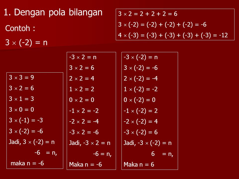 1. Dengan pola bilangan Contoh : 3  (-2) = n 3  2 = 2 + 2 + 2 = 6