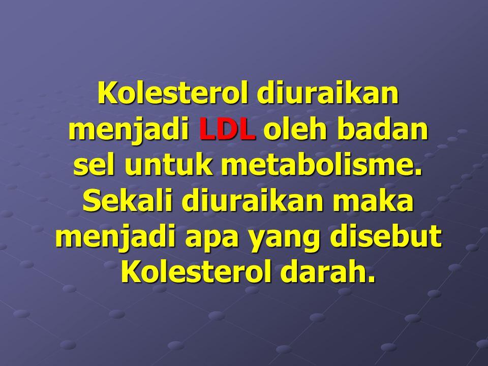 Kolesterol diuraikan menjadi LDL oleh badan sel untuk metabolisme