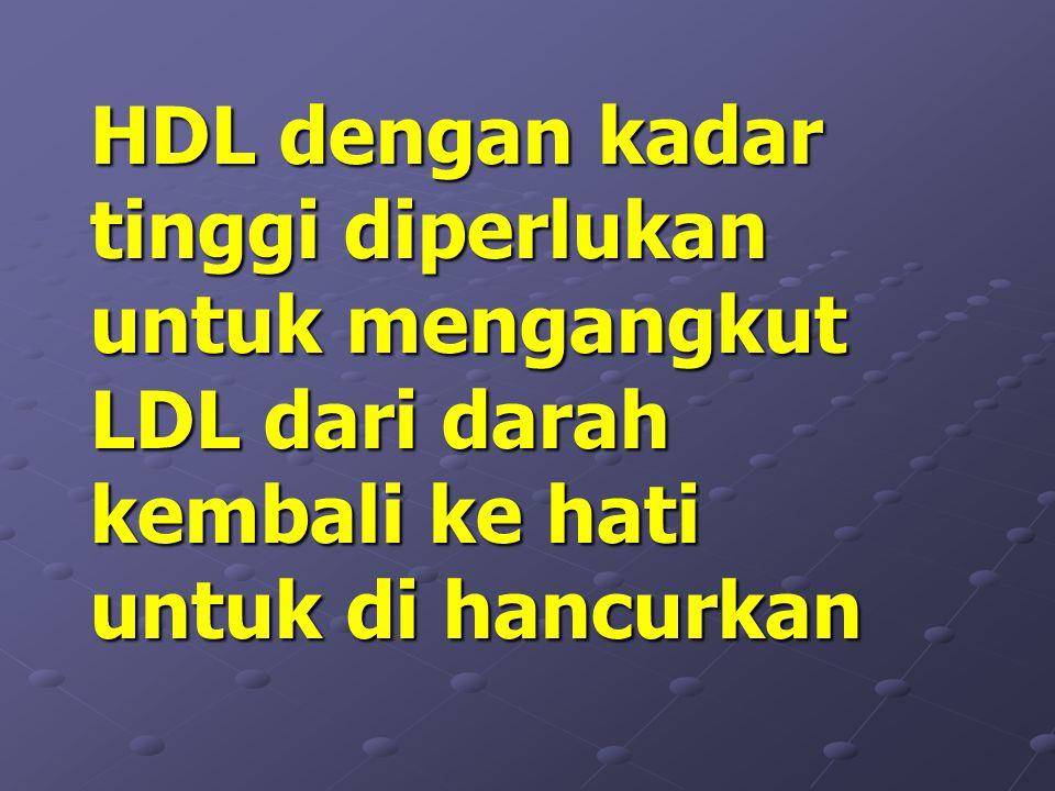 HDL dengan kadar tinggi diperlukan untuk mengangkut LDL dari darah kembali ke hati untuk di hancurkan