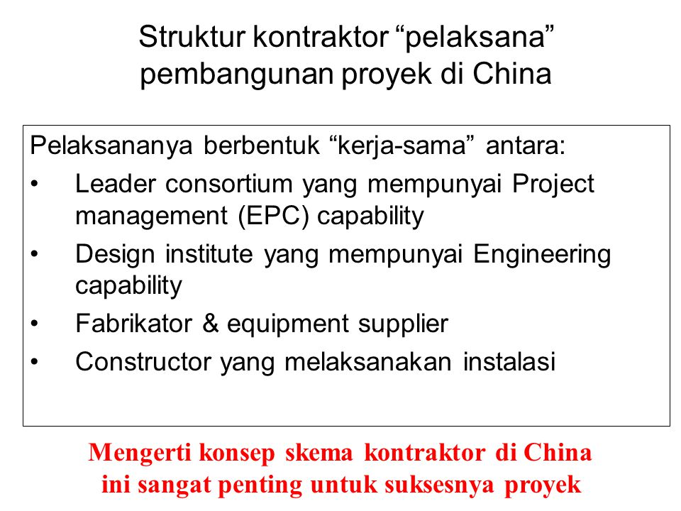 Struktur kontraktor pelaksana pembangunan proyek di China
