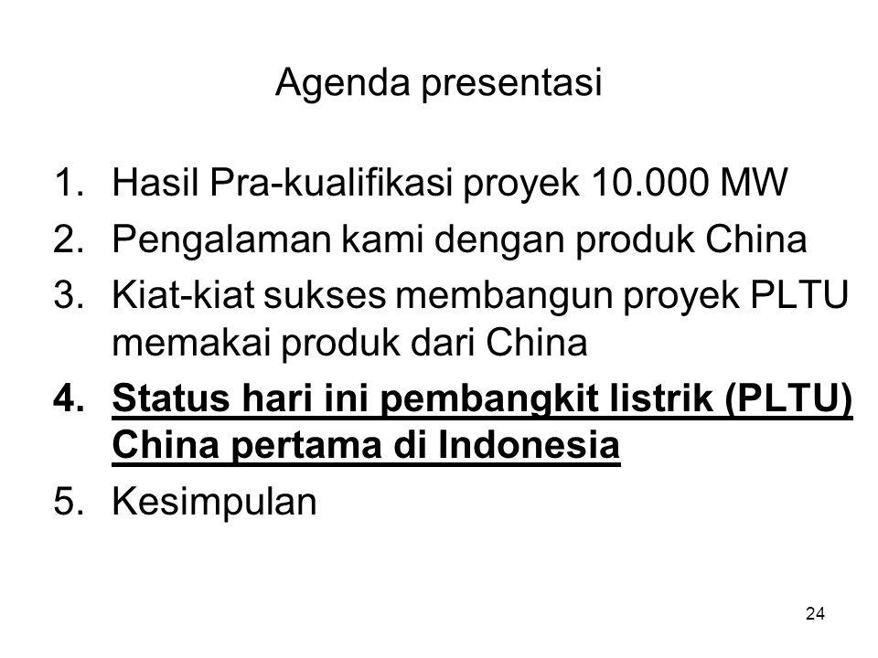 Agenda presentasi Hasil Pra-kualifikasi proyek 10.000 MW. Pengalaman kami dengan produk China.