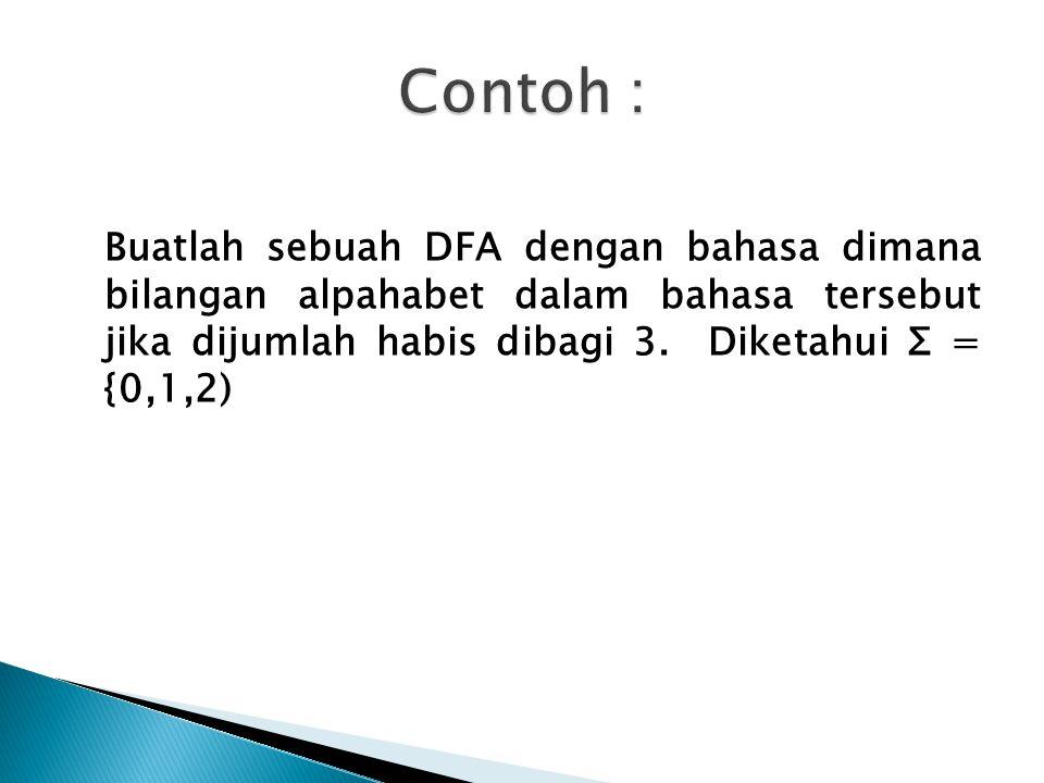 Contoh : Buatlah sebuah DFA dengan bahasa dimana bilangan alpahabet dalam bahasa tersebut jika dijumlah habis dibagi 3.