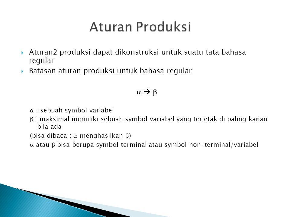 Aturan Produksi Aturan2 produksi dapat dikonstruksi untuk suatu tata bahasa regular. Batasan aturan produksi untuk bahasa regular: