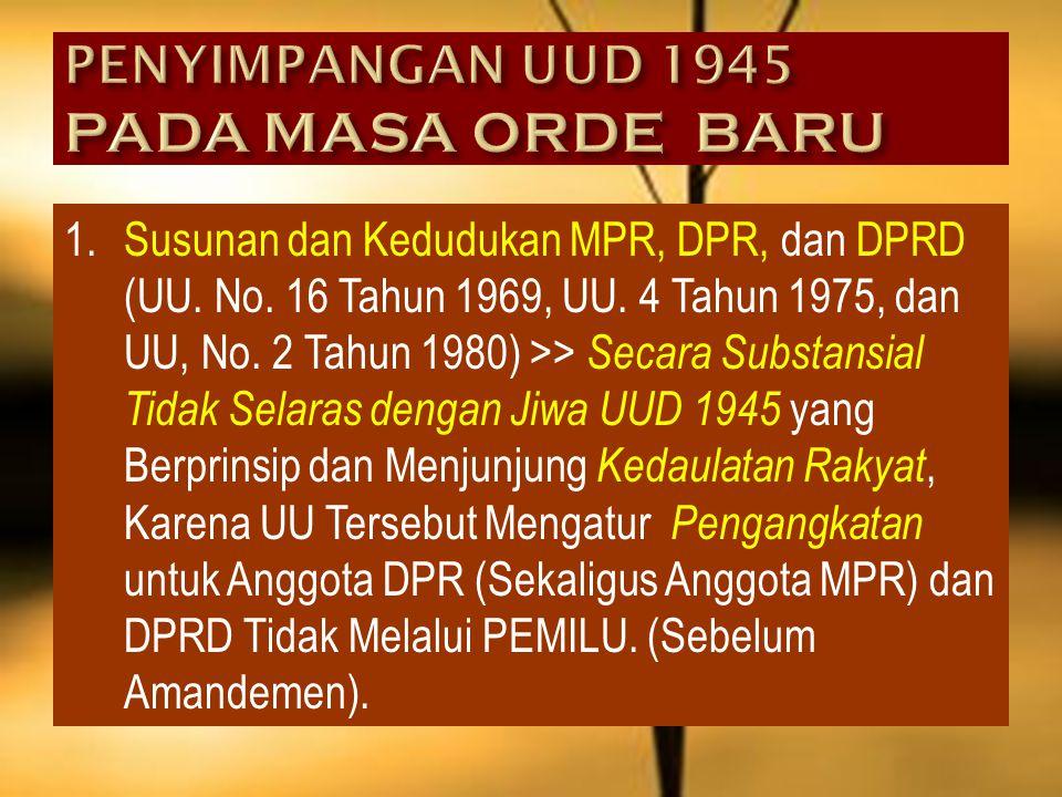 PENYIMPANGAN UUD 1945 PADA MASA ORDE BARU