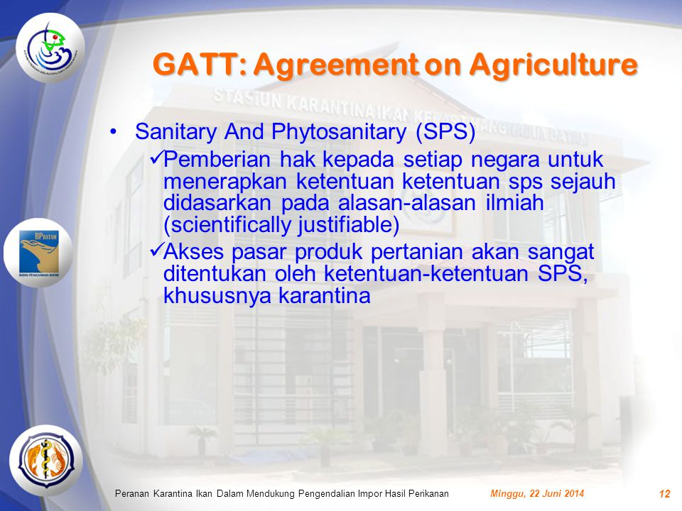 GATT: Agreement on Agriculture