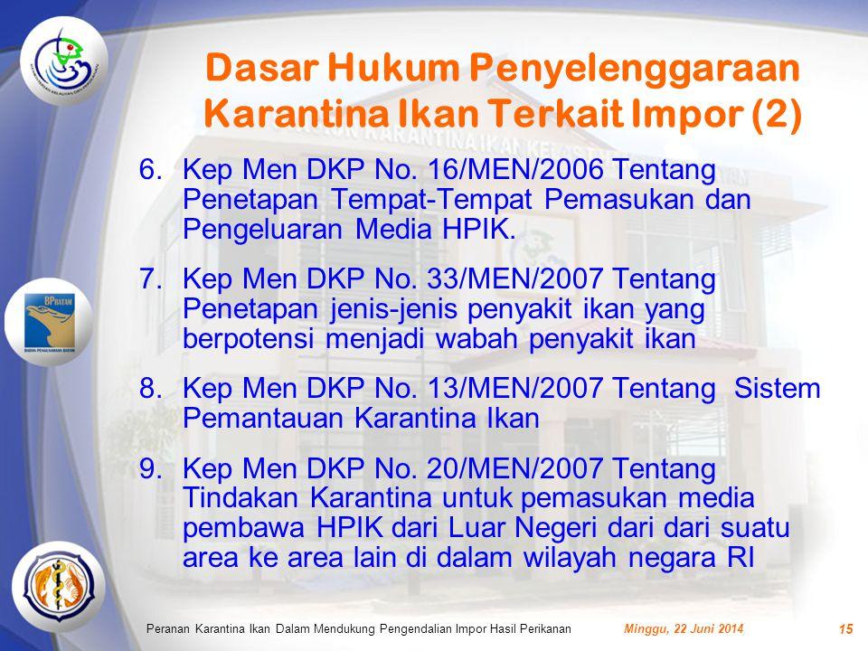 Dasar Hukum Penyelenggaraan Karantina Ikan Terkait Impor (2)