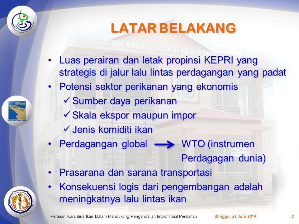 LATAR BELAKANG Luas perairan dan letak propinsi KEPRI yang strategis di jalur lalu lintas perdagangan yang padat.