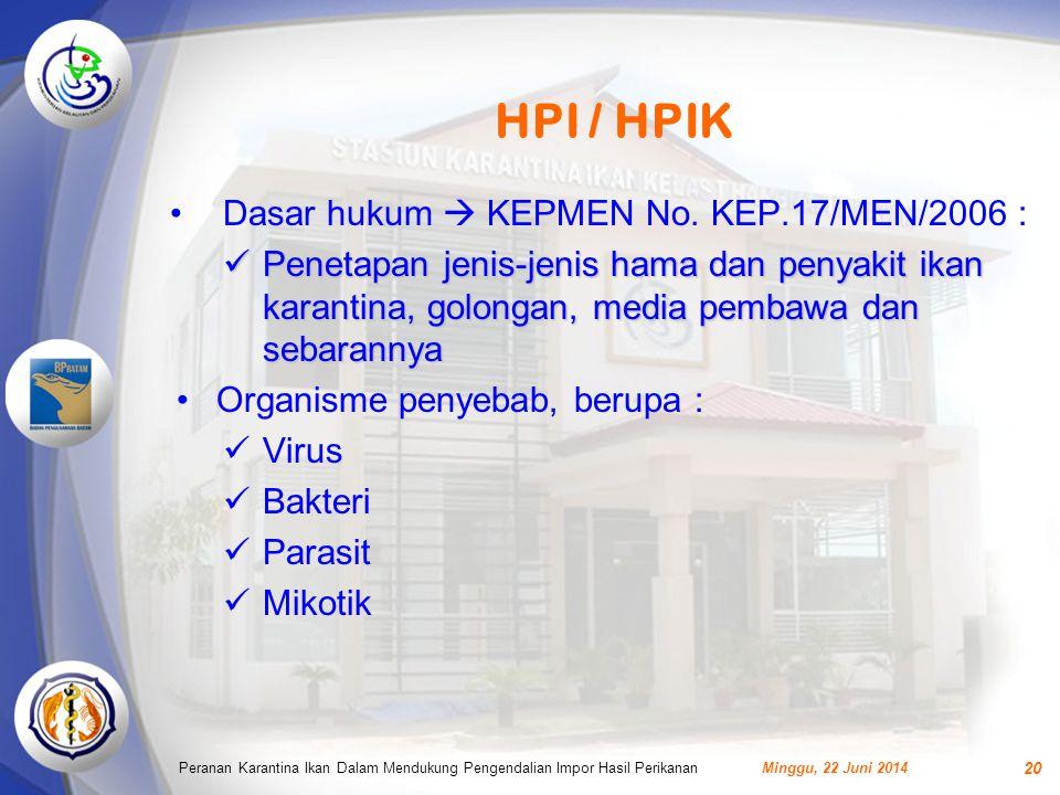HPI / HPIK Dasar hukum  KEPMEN No. KEP.17/MEN/2006 :