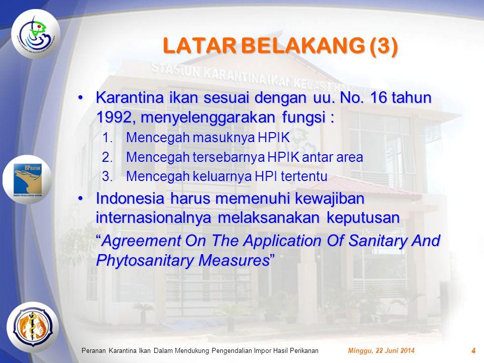 LATAR BELAKANG (3) Karantina ikan sesuai dengan uu. No. 16 tahun 1992, menyelenggarakan fungsi : Mencegah masuknya HPIK.