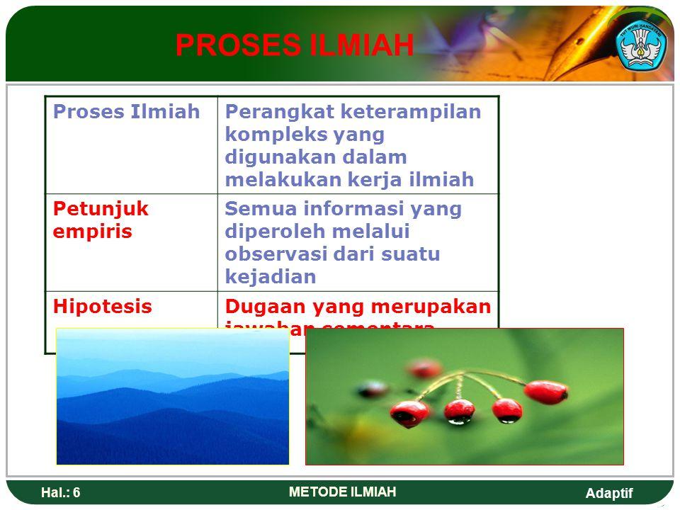 PROSES ILMIAH Proses Ilmiah