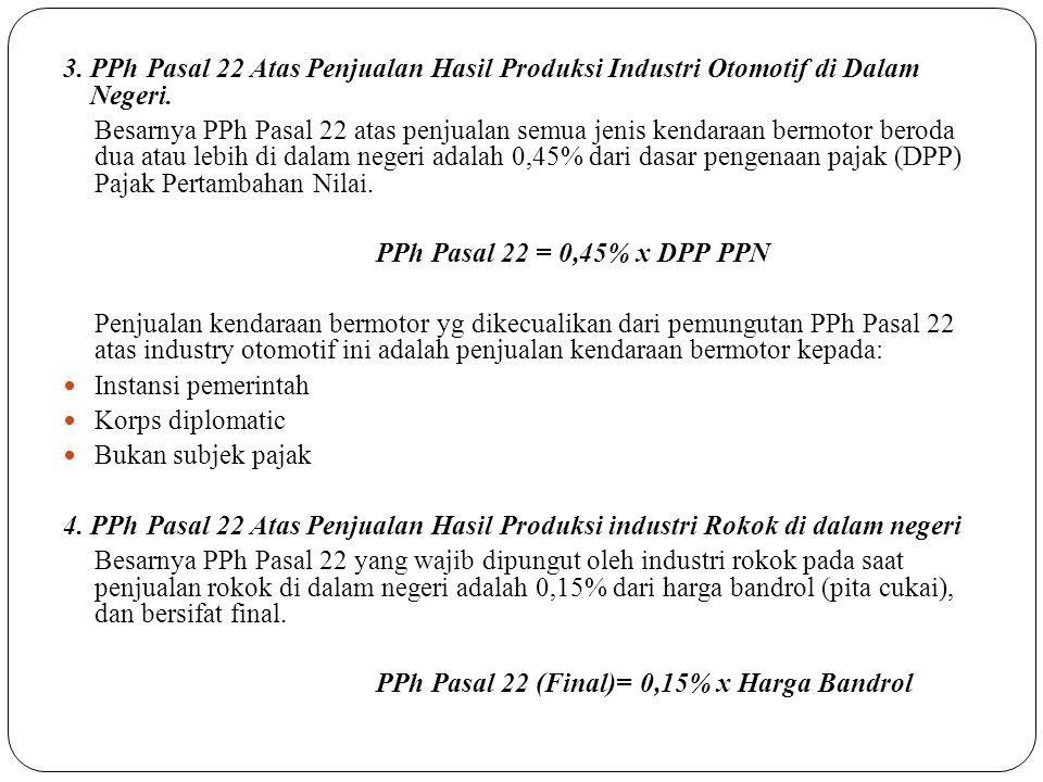 3. PPh Pasal 22 Atas Penjualan Hasil Produksi Industri Otomotif di Dalam Negeri.