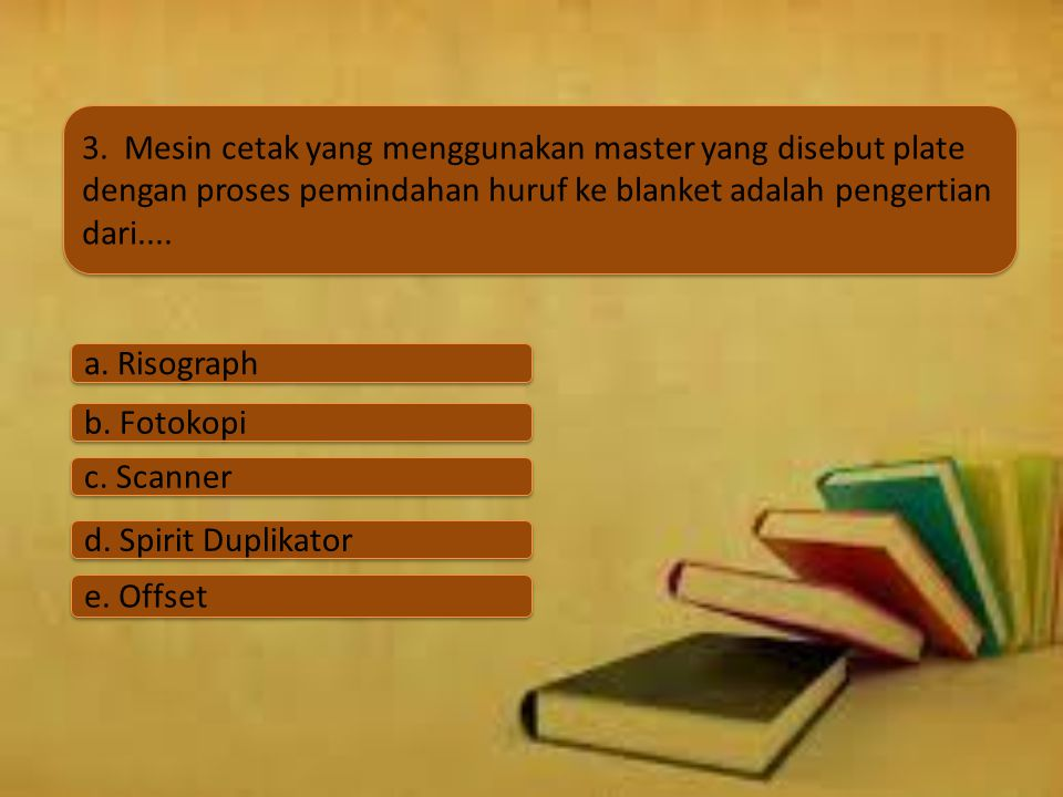 3. Mesin cetak yang menggunakan master yang disebut plate dengan proses pemindahan huruf ke blanket adalah pengertian dari....