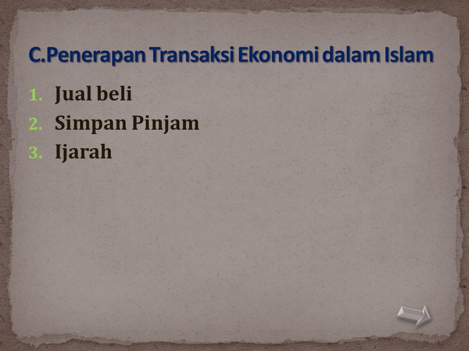 C.Penerapan Transaksi Ekonomi dalam Islam